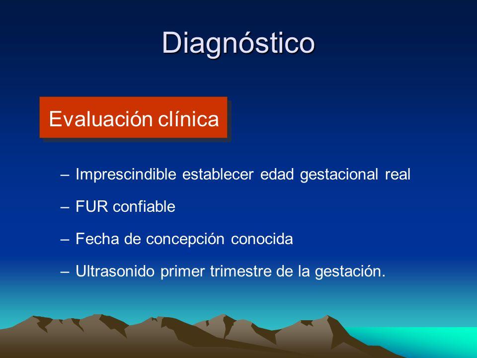 Diagnóstico Evaluación clínica –Imprescindible establecer edad gestacional real –FUR confiable –Fecha de concepción conocida –Ultrasonido primer trime