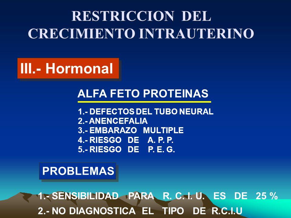 III.- Hormonal ALFA FETO PROTEINAS PROBLEMAS 1.- SENSIBILIDAD PARA R. C. I. U. ES DE 25 % 2.- NO DIAGNOSTICA EL TIPO DE R.C.I.U 1.- DEFECTOS DEL TUBO