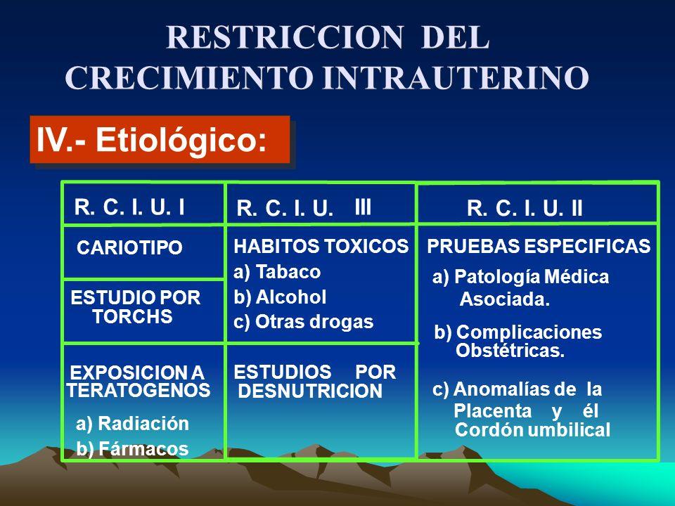 IV.- Etiológico: R. C. I. U. I R. C. I. U. III R. C. I. U. II TORCHS b) Fármacos CARIOTIPO ESTUDIO POR EXPOSICION A TERATOGENOS a) Radiación HABITOS T