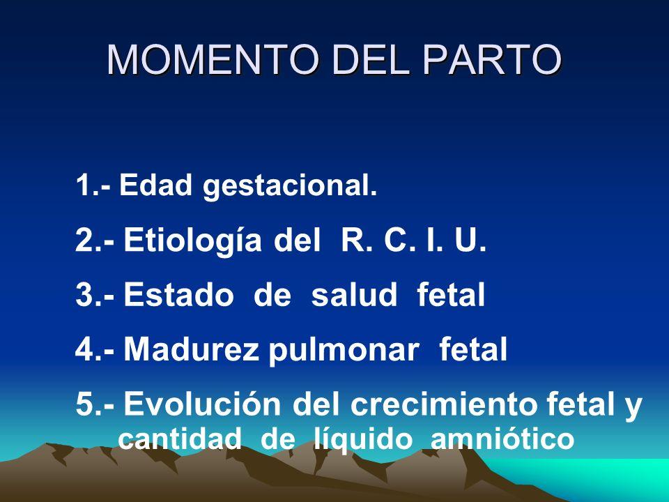 MOMENTO DEL PARTO 1.- Edad gestacional. 2.- Etiología del R. C. I. U. 3.- Estado de salud fetal 4.- Madurez pulmonar fetal 5.- Evolución del crecimien