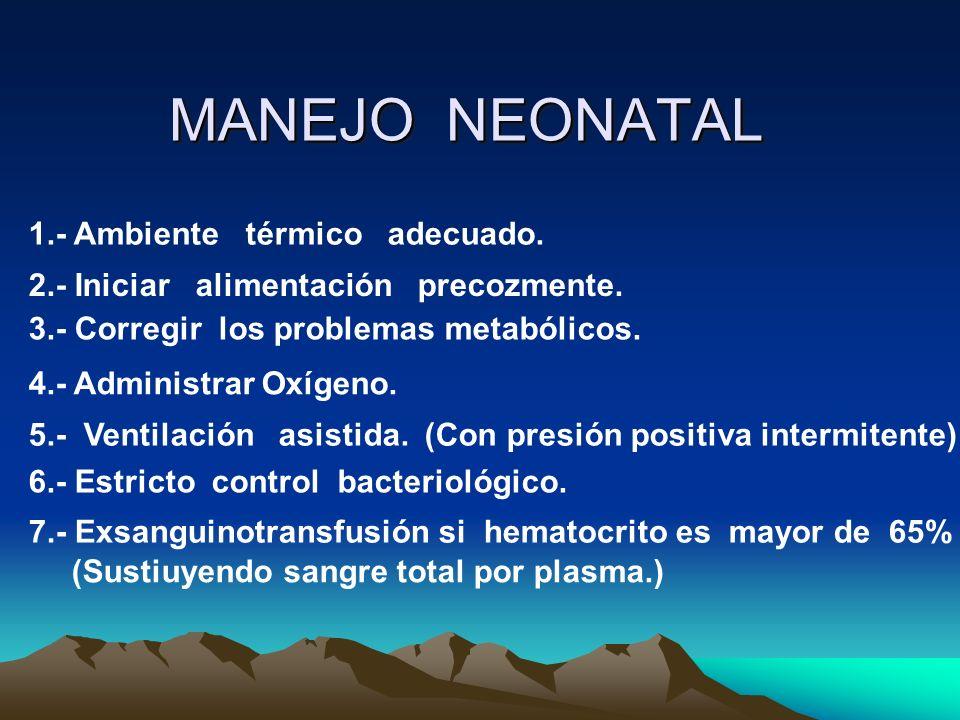 1.- Ambiente térmico adecuado. 2.- Iniciar alimentación precozmente. 3.- Corregir los problemas metabólicos. 4.- Administrar Oxígeno. 5.- Ventilación