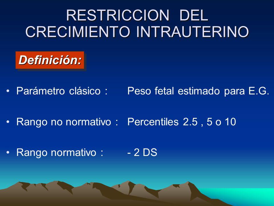 Parámetro clásico : Peso fetal estimado para E.G. Rango no normativo : Percentiles 2.5, 5 o 10 Rango normativo : - 2 DS Definición:Definición: RESTRIC