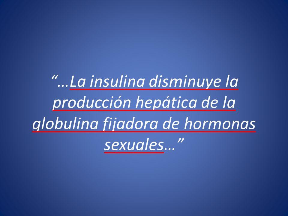 …La insulina disminuye la producción hepática de la globulina fijadora de hormonas sexuales…