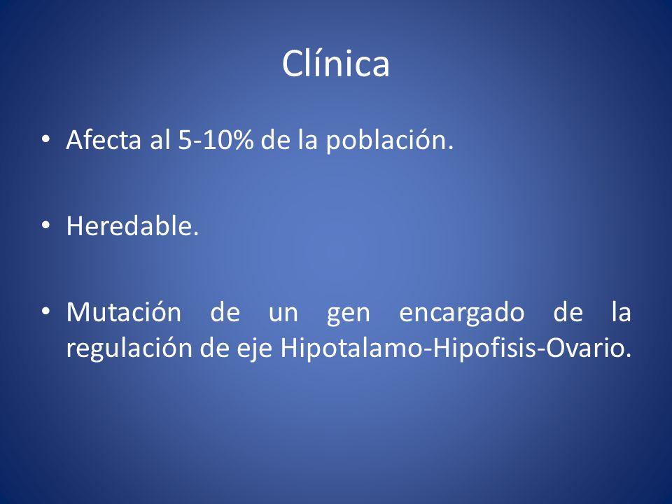 Afecta al 5-10% de la población. Heredable. Mutación de un gen encargado de la regulación de eje Hipotalamo-Hipofisis-Ovario.