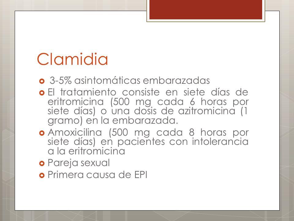 Clamidia 3-5% asintomáticas embarazadas El tratamiento consiste en siete días de eritromicina (500 mg cada 6 horas por siete días) o una dosis de azit
