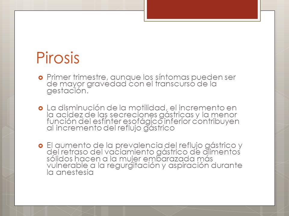 Trastornos Menores del Embarazo Pirosis Tratamiento: * Antiácidos.