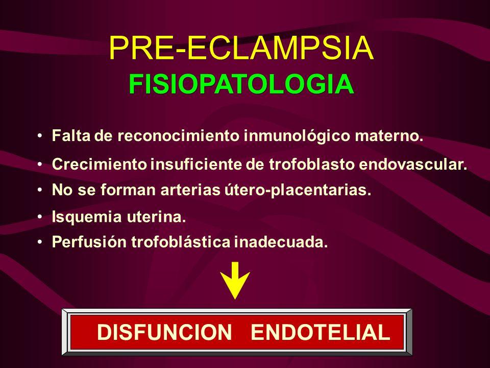 PRE-ECLAMPSIA FISIOPATOLOGIA PRE-ECLAMPSIA FISIOPATOLOGIA Falta de reconocimiento inmunológico materno. Crecimiento insuficiente de trofoblasto endova