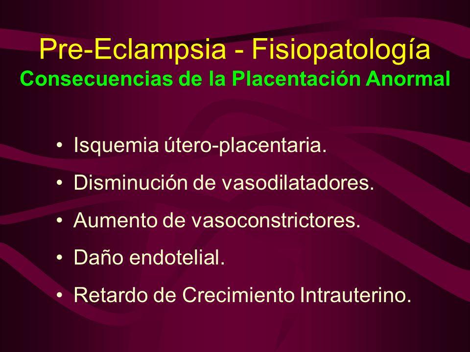 Pre-Eclampsia - Fisiopatología Consecuencias de la Placentación Anormal Isquemia útero-placentaria. Disminución de vasodilatadores. Aumento de vasocon