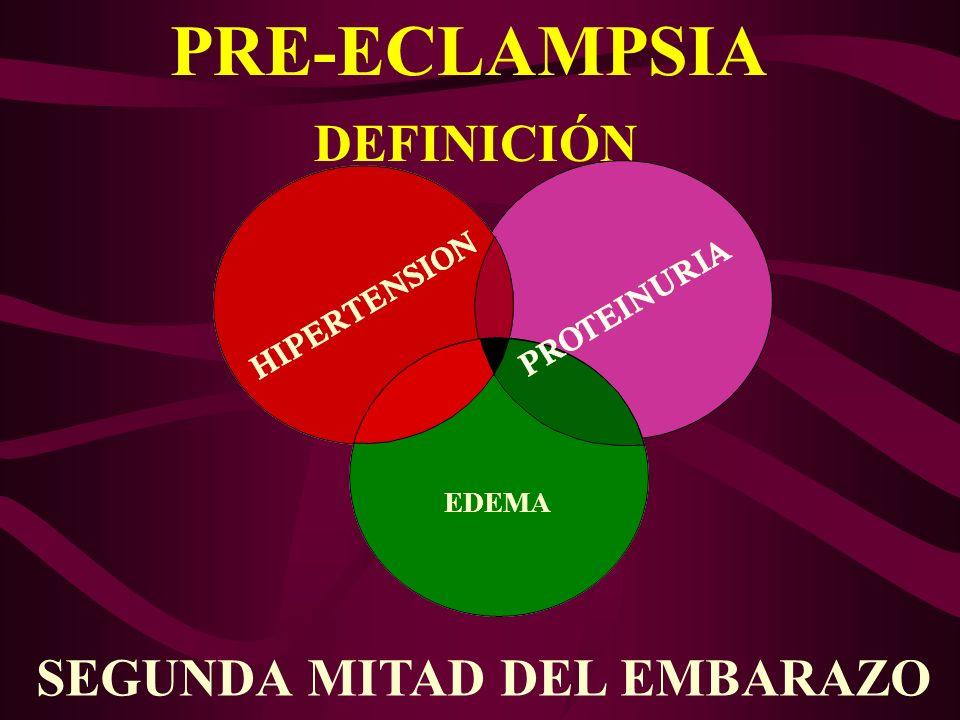 PRE-ECLAMPSIA FISIOPATOLOGIA PRE-ECLAMPSIA FISIOPATOLOGIA Falta de reconocimiento inmunológico materno.