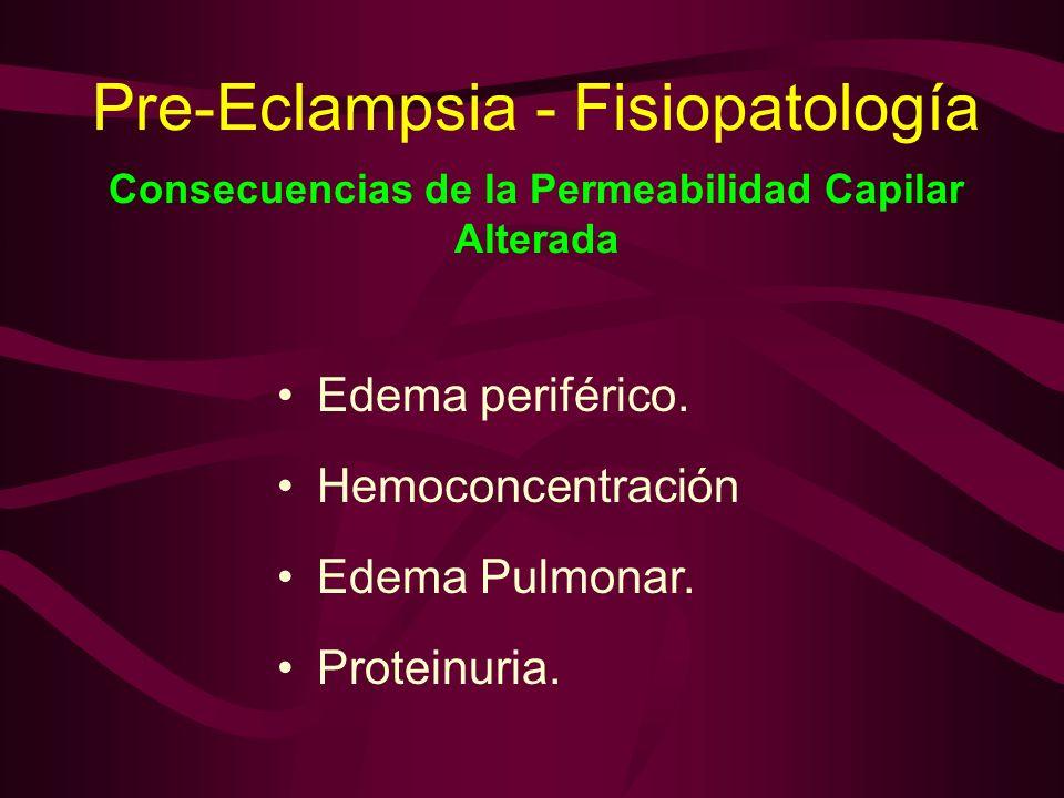 Pre-Eclampsia - Fisiopatología Consecuencias de la Permeabilidad Capilar Alterada Edema periférico. Hemoconcentración Edema Pulmonar. Proteinuria.