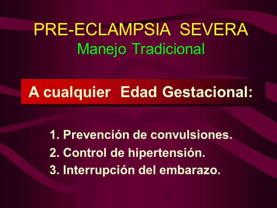 PRE-ECLAMPSIA SEVERA Manejo Tradicional PRE-ECLAMPSIA SEVERA Manejo Tradicional 1. Prevención de convulsiones. 2. Control de hipertensión. 3. Interrup