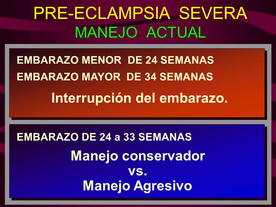 PRE-ECLAMPSIA SEVERA MANEJO ACTUAL PRE-ECLAMPSIA SEVERA MANEJO ACTUAL EMBARAZO MENOR DE 24 SEMANAS EMBARAZO MAYOR DE 34 SEMANAS Interrupción del embar