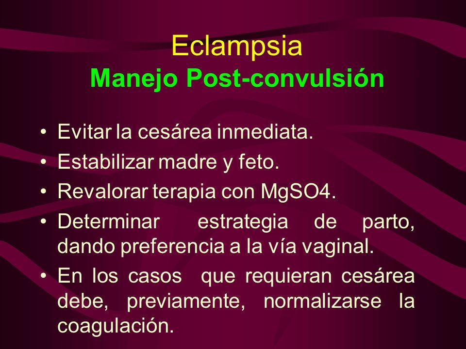 Eclampsia Manejo Post-convulsión Evitar la cesárea inmediata. Estabilizar madre y feto. Revalorar terapia con MgSO4. Determinar estrategia de parto, d