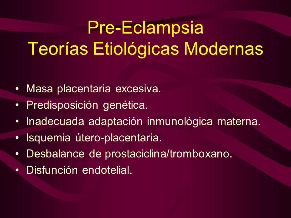 Pre-Eclampsia Teorías Etiológicas Modernas Masa placentaria excesiva. Predisposición genética. Inadecuada adaptación inmunológica materna. Isquemia út