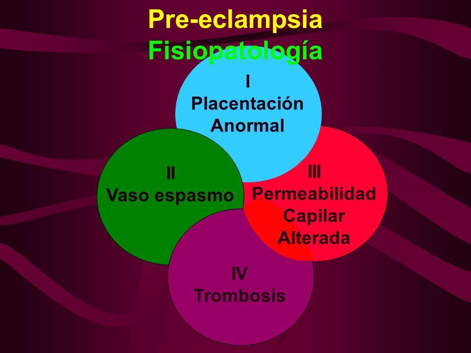 PRE-ECLAMPSIA III PERMEABILIDAD CAPILAR ALTERADA EDEMA PROTEINURIA HEMOCONCENTRACION HIPERURICEMIA