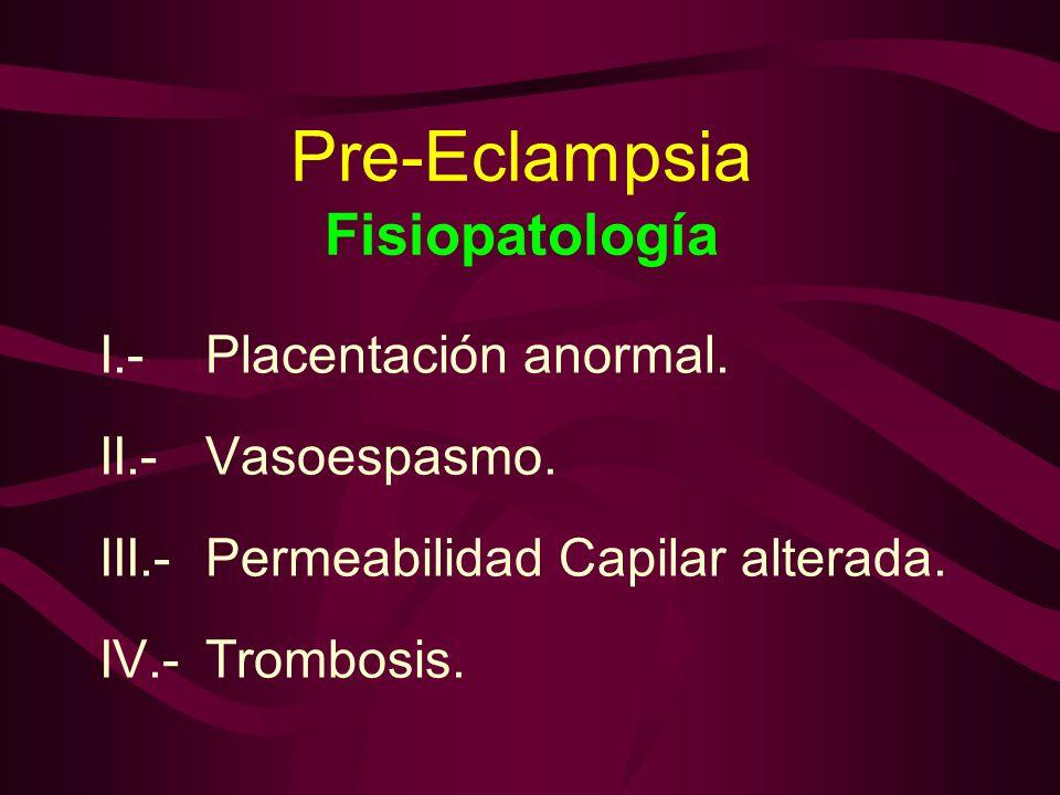 Pre-Eclampsia Fisiopatología I.-Placentación anormal. II.-Vasoespasmo. III.-Permeabilidad Capilar alterada. IV.-Trombosis.