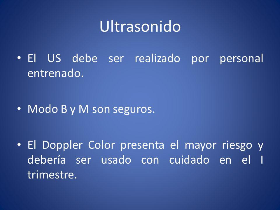 Ultrasonido El US debe ser realizado por personal entrenado. Modo B y M son seguros. El Doppler Color presenta el mayor riesgo y debería ser usado con