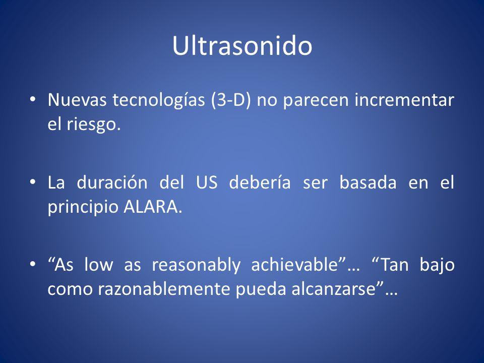 Ultrasonido Nuevas tecnologías (3-D) no parecen incrementar el riesgo. La duración del US debería ser basada en el principio ALARA. As low as reasonab