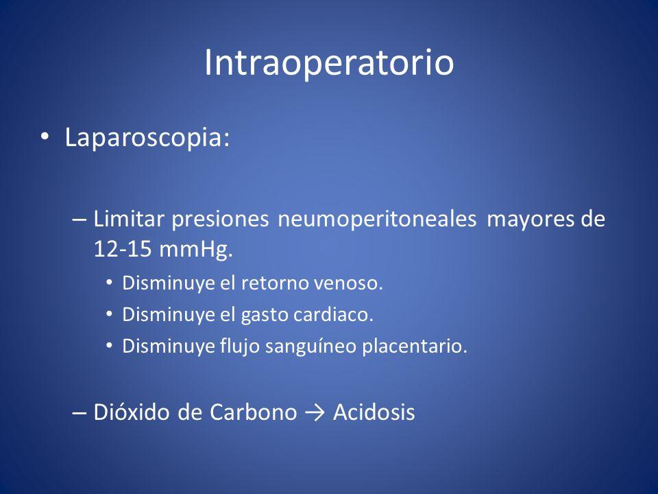 Intraoperatorio Laparoscopia: – Limitar presiones neumoperitoneales mayores de 12-15 mmHg. Disminuye el retorno venoso. Disminuye el gasto cardiaco. D