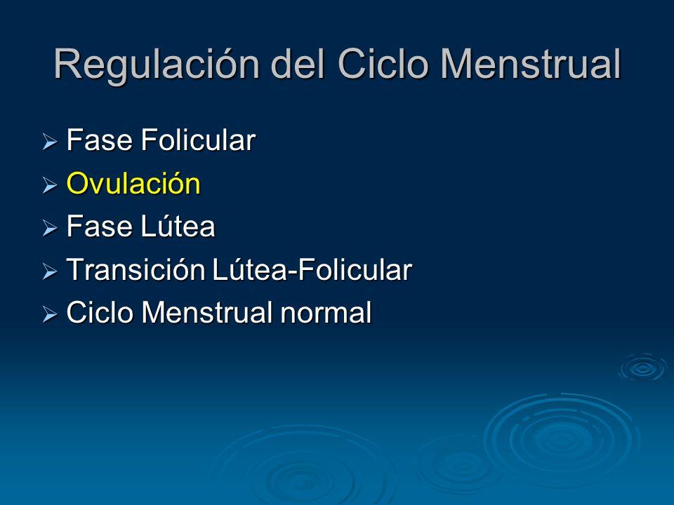 Regulación del Ciclo Menstrual Fase Folicular Fase Folicular Ovulación Ovulación Fase Lútea Fase Lútea Transición Lútea-Folicular Transición Lútea-Fol
