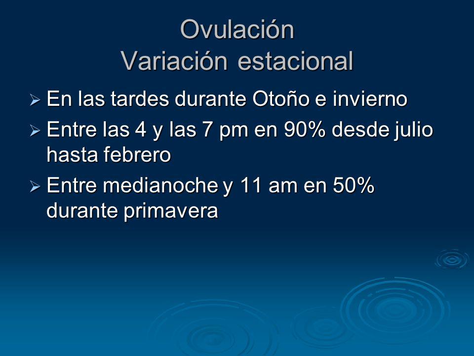 Ovulación Variación estacional En las tardes durante Otoño e invierno En las tardes durante Otoño e invierno Entre las 4 y las 7 pm en 90% desde julio