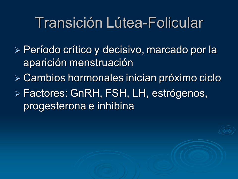 Transición Lútea-Folicular Período crítico y decisivo, marcado por la aparición menstruación Período crítico y decisivo, marcado por la aparición mens