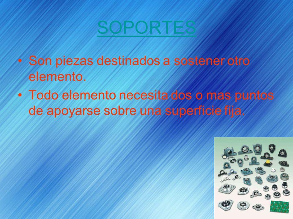 SOPORTES Son piezas destinados a sostener otro elemento. Todo elemento necesita dos o mas puntos de apoyarse sobre una superficie fija.