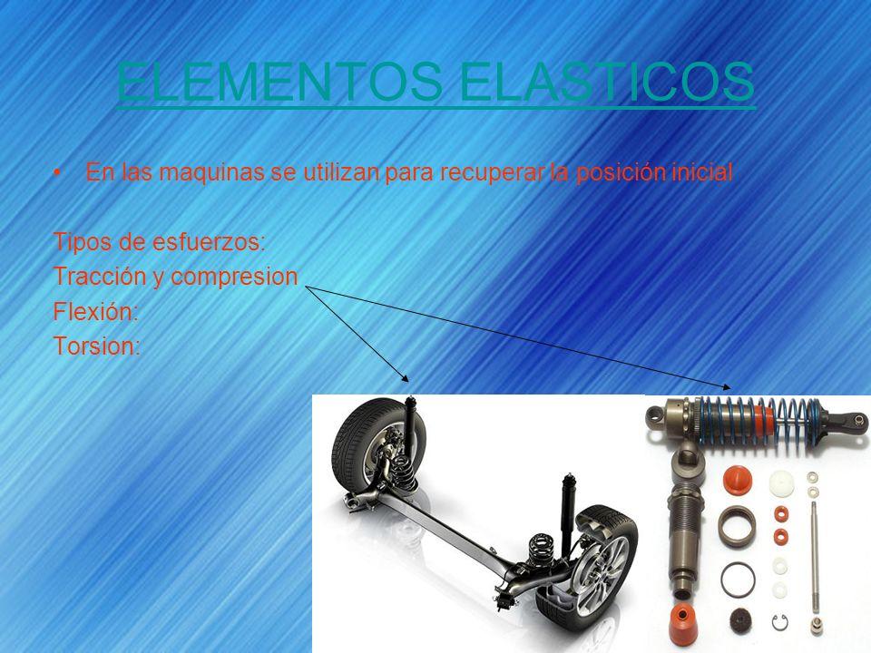 ELEMENTOS ELASTICOS En las maquinas se utilizan para recuperar la posición inicial Tipos de esfuerzos: Tracción y compresion Flexión: Torsion: