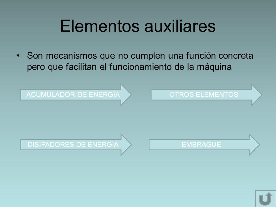 Elementos auxiliares Son mecanismos que no cumplen una función concreta pero que facilitan el funcionamiento de la máquina ACUMULADOR DE ENERGÍAOTROS