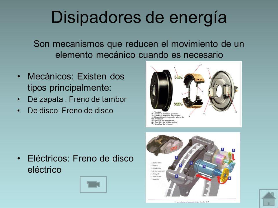 Disipadores de energía Son mecanismos que reducen el movimiento de un elemento mecánico cuando es necesario Mecánicos: Existen dos tipos principalment