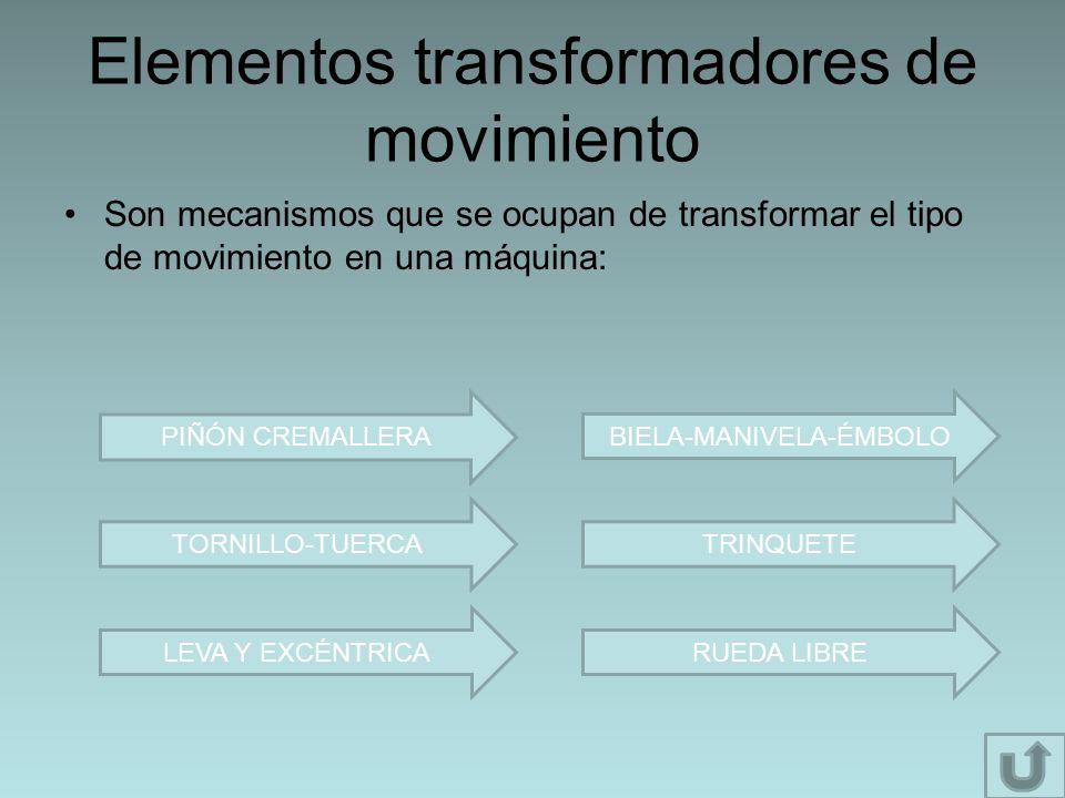 Elementos transformadores de movimiento Son mecanismos que se ocupan de transformar el tipo de movimiento en una máquina: PIÑÓN CREMALLERA TORNILLO-TU