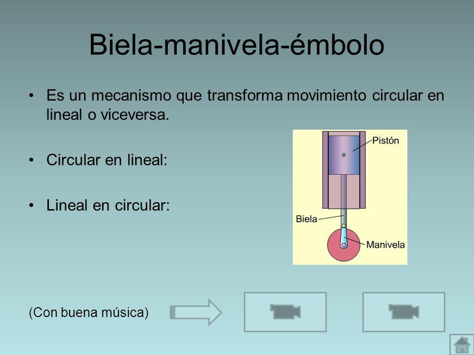 Biela-manivela-émbolo Es un mecanismo que transforma movimiento circular en lineal o viceversa. Circular en lineal: Lineal en circular: (Con buena mús
