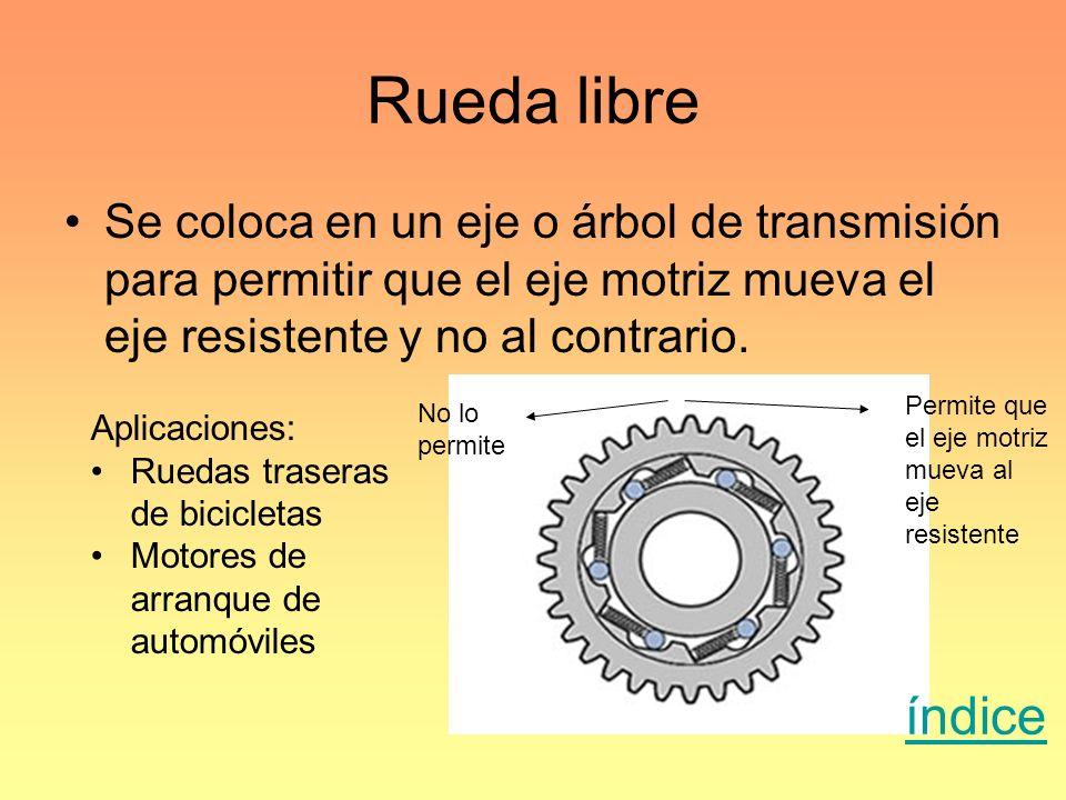 Rueda libre Se coloca en un eje o árbol de transmisión para permitir que el eje motriz mueva el eje resistente y no al contrario. Aplicaciones: Ruedas