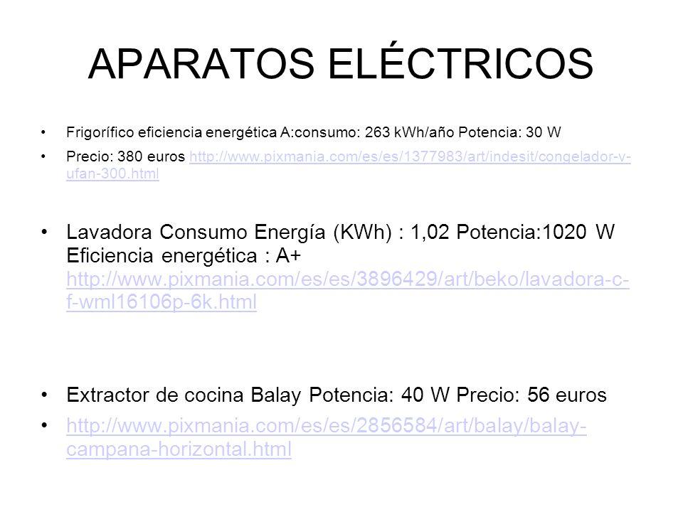 APARATOS ELÉCTRICOS Frigorífico eficiencia energética A:consumo: 263 kWh/año Potencia: 30 W Precio: 380 euros http://www.pixmania.com/es/es/1377983/ar