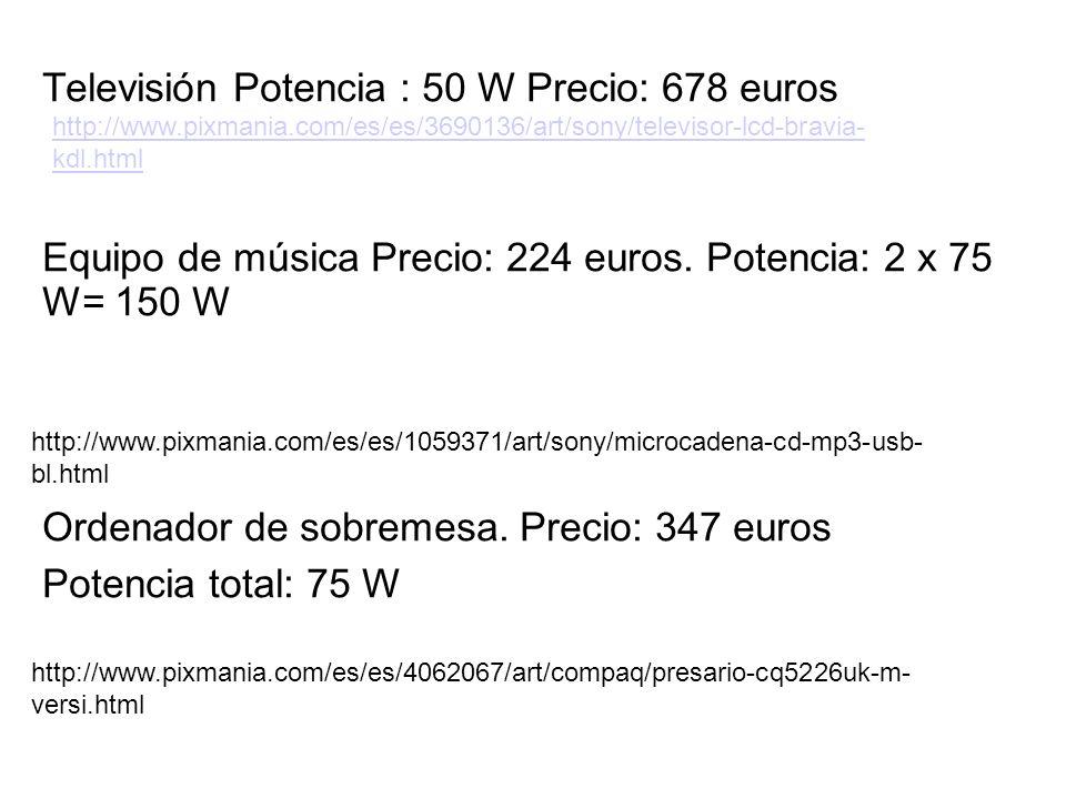 Televisión Potencia : 50 W Precio: 678 euros Equipo de música Precio: 224 euros. Potencia: 2 x 75 W= 150 W Ordenador de sobremesa. Precio: 347 euros P