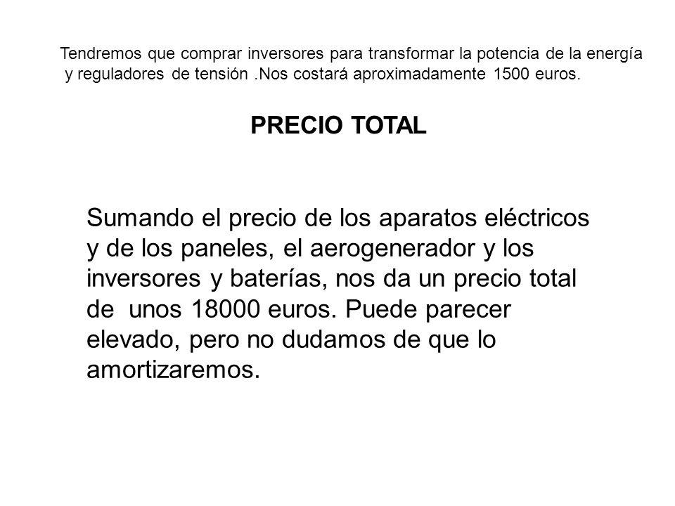 Tendremos que comprar inversores para transformar la potencia de la energía y reguladores de tensión.Nos costará aproximadamente 1500 euros. PRECIO TO