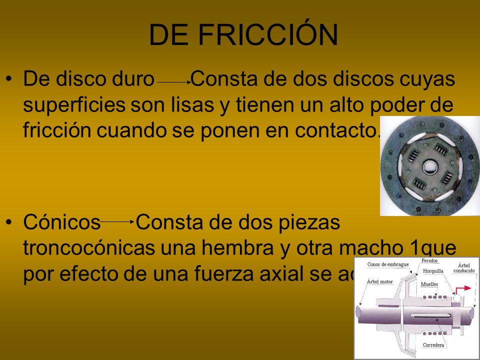 DE FRICCIÓN De disco duro Consta de dos discos cuyas superficies son lisas y tienen un alto poder de fricción cuando se ponen en contacto. Cónicos Con