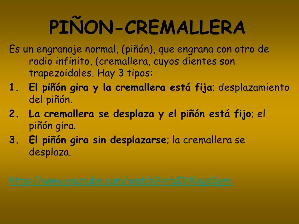 PIÑON-CREMALLERA Es un engranaje normal, (piñón), que engrana con otro de radio infinito, (cremallera, cuyos dientes son trapezoidales. Hay 3 tipos: 1