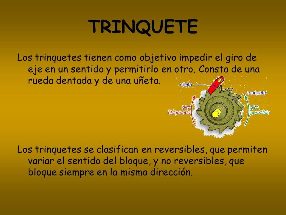 TRINQUETE Los trinquetes tienen como objetivo impedir el giro de eje en un sentido y permitirlo en otro. Consta de una rueda dentada y de una uñeta. L