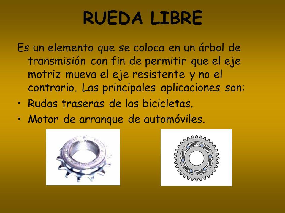 RUEDA LIBRE Es un elemento que se coloca en un árbol de transmisión con fin de permitir que el eje motriz mueva el eje resistente y no el contrario. L
