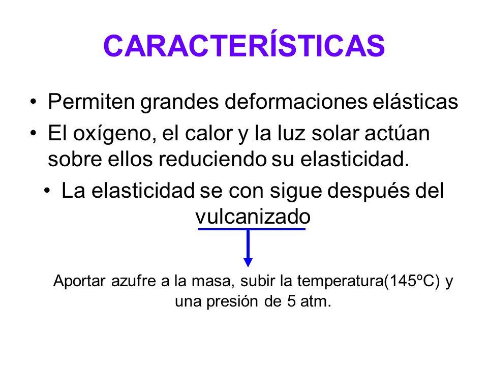 CARACTERÍSTICAS Permiten grandes deformaciones elásticas El oxígeno, el calor y la luz solar actúan sobre ellos reduciendo su elasticidad. La elastici
