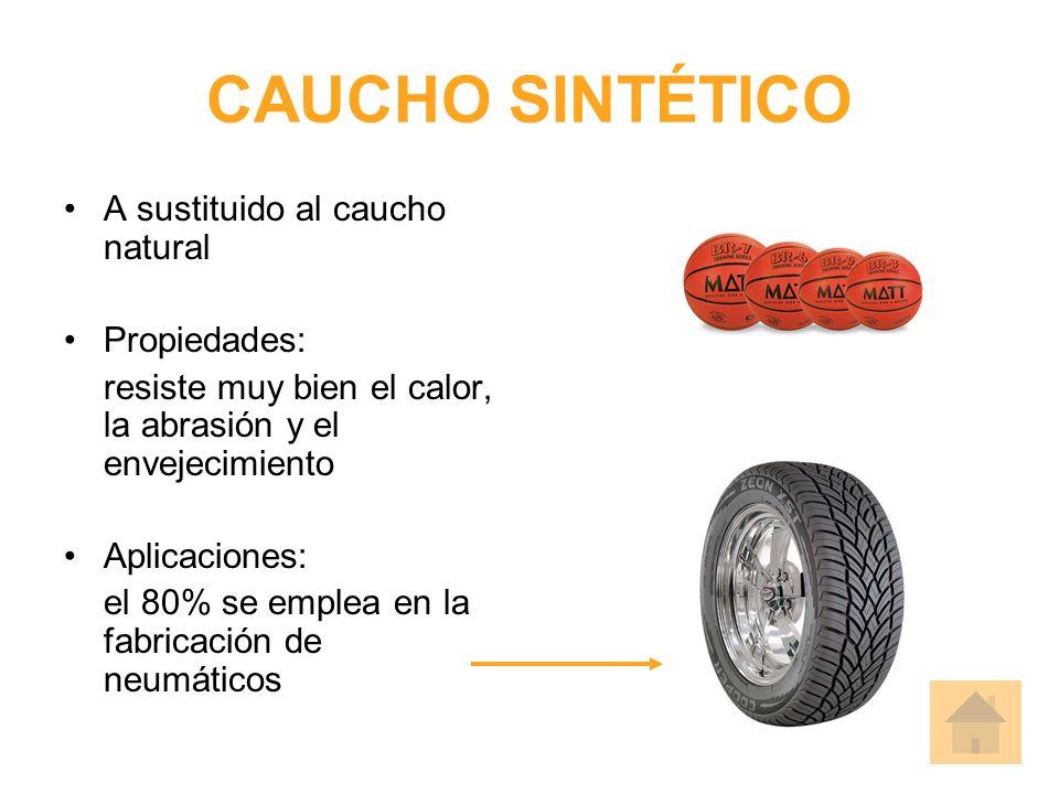 CAUCHO SINTÉTICO A sustituido al caucho natural Propiedades: resiste muy bien el calor, la abrasión y el envejecimiento Aplicaciones: el 80% se emplea