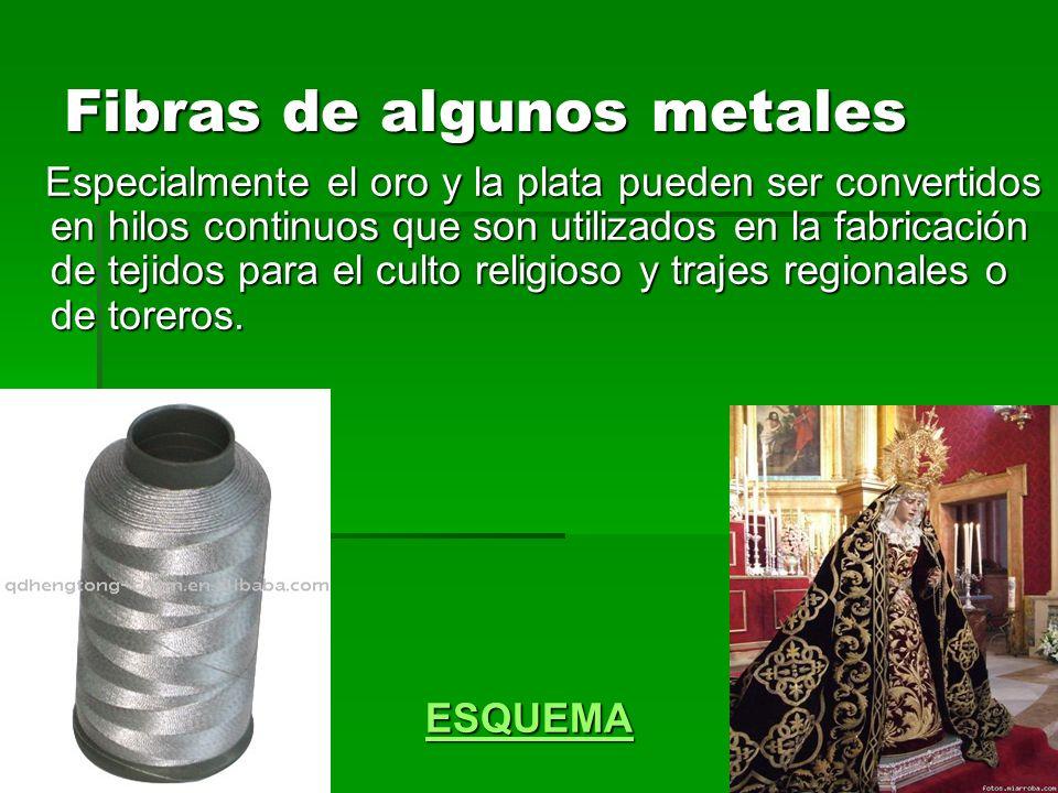 Fibras de algunos metales Especialmente el oro y la plata pueden ser convertidos en hilos continuos que son utilizados en la fabricación de tejidos pa