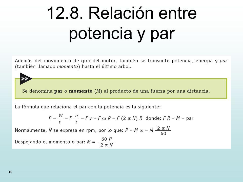 16 12.8. Relación entre potencia y par