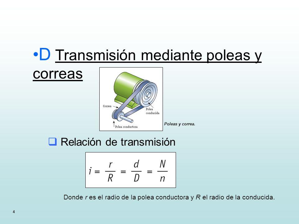 4 D Transmisión mediante poleas y correas Poleas y correa. Relación de transmisión Donde r es el radio de la polea conductora y R el radio de la condu