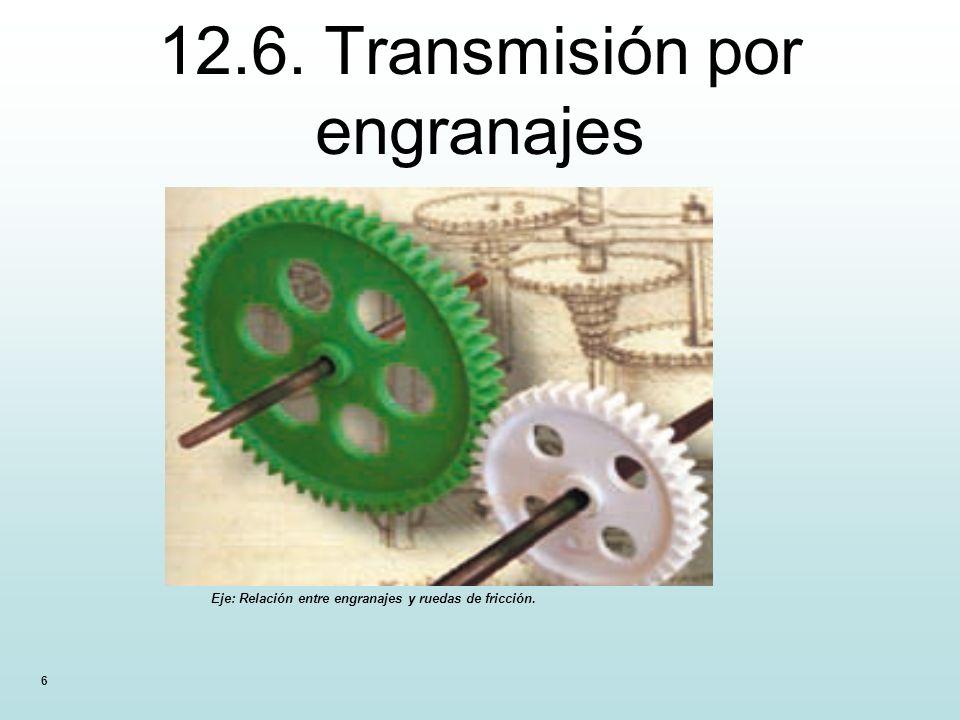 6 12.6. Transmisión por engranajes Eje: Relación entre engranajes y ruedas de fricción.