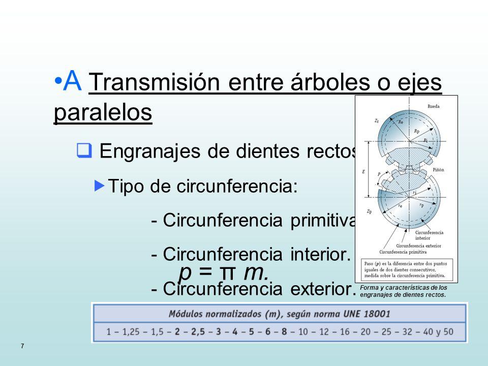 7 A Transmisión entre árboles o ejes paralelos Engranajes de dientes rectos Tipo de circunferencia: - Circunferencia primitiva. - Circunferencia inter