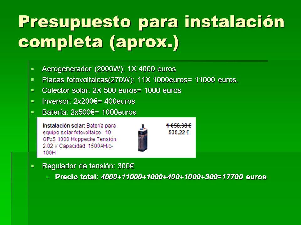 Presupuesto para instalación completa (aprox.) Aerogenerador (2000W): 1X 4000 euros Aerogenerador (2000W): 1X 4000 euros Placas fotovoltaicas(270W): 1