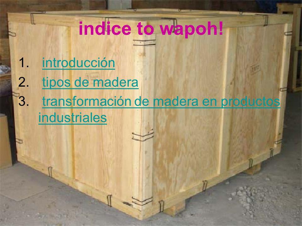 indice to wapoh! 1. introducciónintroducción 2. tipos de maderatipos de madera 3. transformación de madera en productos industrialestransformación de