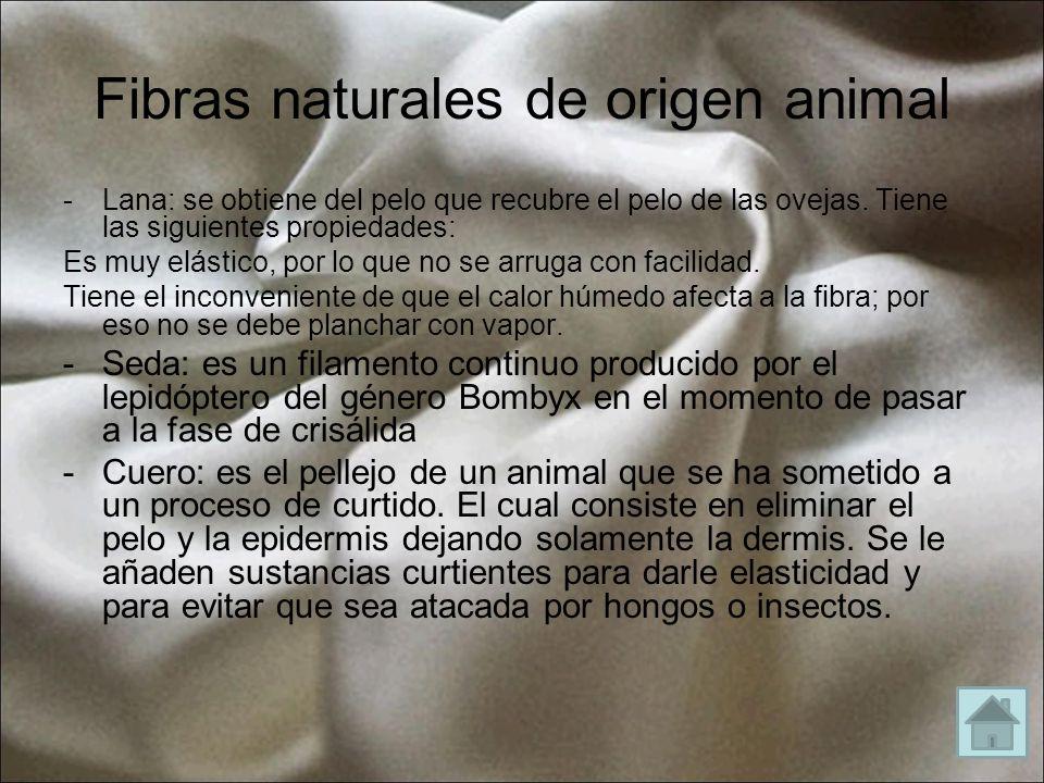 Fibras naturales de origen animal -Lana: se obtiene del pelo que recubre el pelo de las ovejas. Tiene las siguientes propiedades: Es muy elástico, por